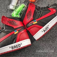 OFF-WHITE X Air Jordan 1 Mens Shoes Bred Authentic