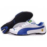 Mens Puma Future Cat Brazil Edition In White/Blue Free Shipping EsQWkXm
