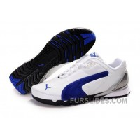 Mens Puma Grit Cat In White/Blue Discount PDnsr
