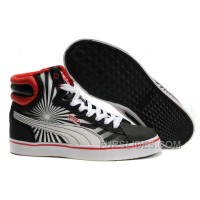 Mens Puma New First Round In Black-White-Red Super Deals K7xtwY
