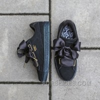 PUMA W Suede Satin Heart 362714-07 All Black New Release