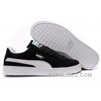 Women's Puma Suede Black-White Christmas Deals QaTiRx4