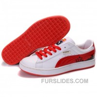 Puma Suede Fat Lace In White-Varsity Red Authentic FbsbX