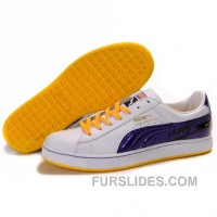 Puma Suede Fat Lace In White-Royal Blue-Yellow Free Shipping BSt5Dj