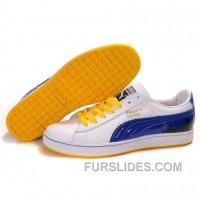 Puma Suede Fat Lace In White-Blue-Yellow Top Deals 7nsGm