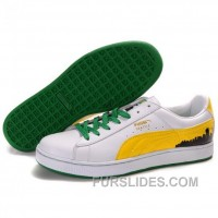 Puma Suede Fat Lace In White-Yellow-Green Discount ArWKHf