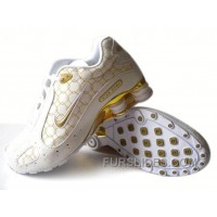 Men's Nike Shox Monster Shoes White/Gold Online