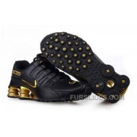 Men's Nike Shox NZ Shoes Black/Gold Cheap To Buy
