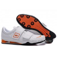 Men's Nike Shox R3 Shoes White/Orange/Black Top Deals