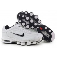 Men's Nike Air Max Shox R4 Shoes White/Black Discount