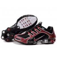 Men's Nike Shox R5 Shoes Black/Dark Red Discount