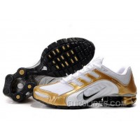 Men's Nike Shox R5 Shoes White/Black/Golden For Sale