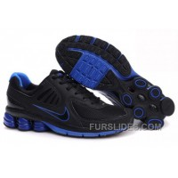 Men's Nike Shox R6 Shoes Black/Dark Blue Discount