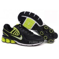 Men's Nike Shox R6 Shoes Black/Green/White For Sale