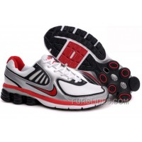 Men's Nike Shox R6 Shoes Silver/White/Black/Red For Sale