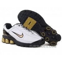 Men's Nike Shox R6 Shoes White/Black/Golden Lastest