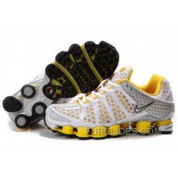 Men's Nike Shox TL Shoes White/Yellow/Silver Free Shipping