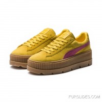 FENTY SUEDE CLEATED CREEPER WOMENS PUMA Lemon-Carmine Rose-Vanilla Ice Online
