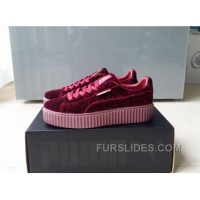 Puma By Rihanna Suede Creepers Burgundy New Release