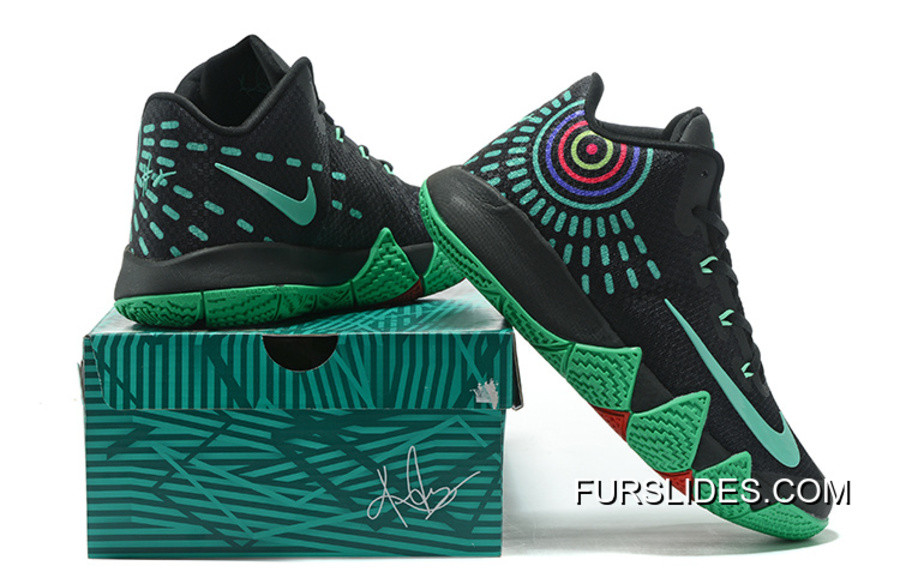 3ccdad44f1b24 Nike Kyrie 4 Mens Basketball Shoes Black Green For Sale