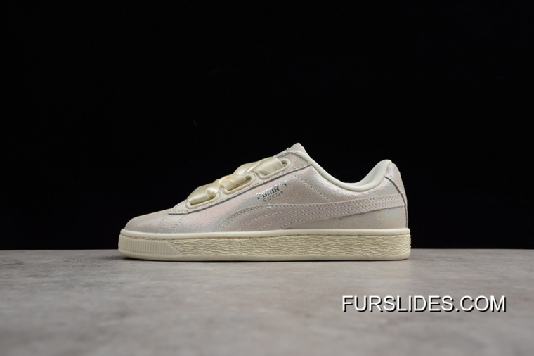 new arrival 23b7a 53572 Women Latest Puma Basket Heart Patent Wn S Pearl White Bow 364108-02