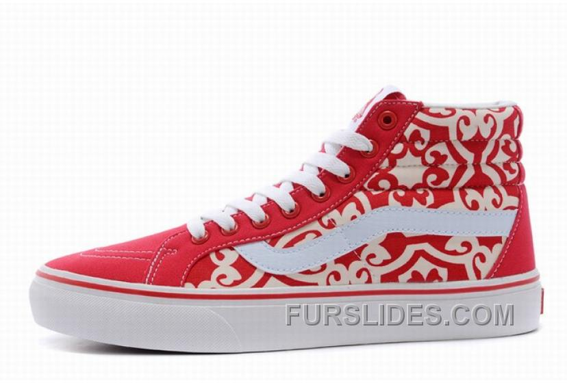 Vans SK8-Hi Floral Red White Mens Shoes Authentic AhJ5F8W